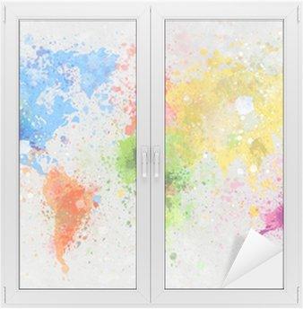 Window & Glass Sticker world map painting