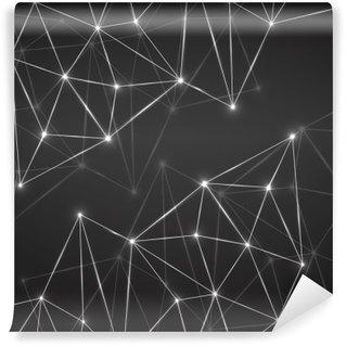 Yıkanabilir Duvar Resmi Bağlantı noktaları ve hatları ile soyut geometrik arka plan. Modern teknoloji kavramı. Poligon yapı