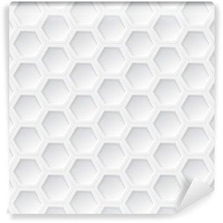 Yıkanabilir Duvar Resmi Beyaz 3d altıgen sorunsuz desen