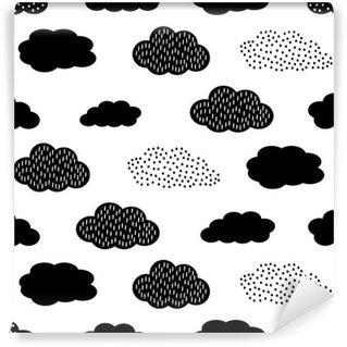 Yıkanabilir Duvar Resmi Bulutlar Siyah ve beyaz seamless pattern. Sevimli bebek duş vector background. Çocuk çizim tarzı illüstrasyon.