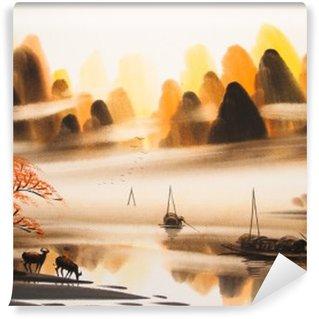 Yıkanabilir Duvar Resmi Çin peyzaj suluboya painting__