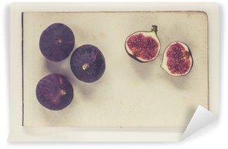 Yıkanabilir Duvar Resmi Doğal tarih kitap tarzı - eski kağıt yaprak yatan incir