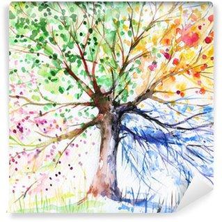 Yıkanabilir Duvar Resmi Dört mevsim ağaç