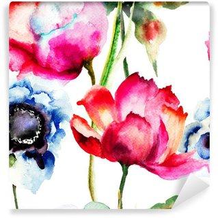 Yıkanabilir Duvar Resmi Güzel çiçekler ile Seamless pattern
