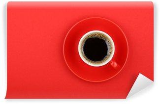 Yıkanabilir Duvar Resmi Kırmızı üzerinde daire tam fincan Americano kahve