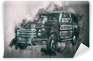 Yıkanabilir Duvar Resmi Koyu skeç ile eski araba boyama