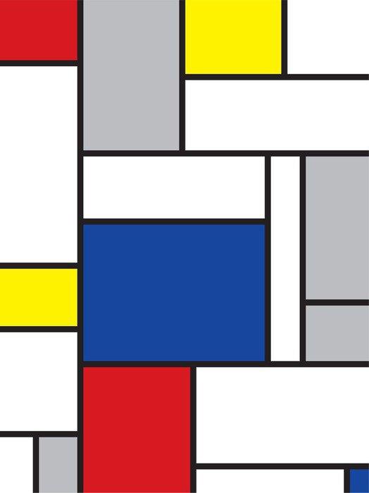 Yıkanabilir Duvar Resmi Mondrian ilham sanat -