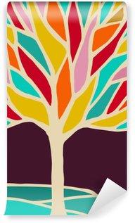 Yıkanabilir Duvar Resmi Renkli dalları ile soyut ağaç illüstrasyon