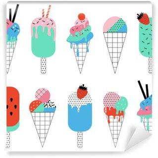 Yıkanabilir Duvar Resmi Sevimli Yaz dondurmalar toplanması. Yaz eğlenceli afiş.