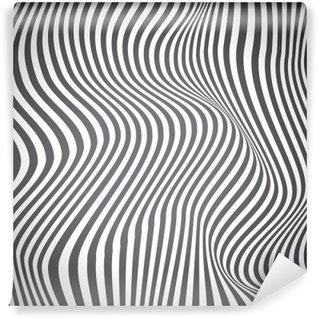 Yıkanabilir Duvar Resmi Siyah ve beyaz kavisli çizgiler, yüzey dalgaları, vektör tasarımı