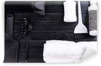 Yıkanabilir Duvar Resmi Siyah ve beyaz saç şekillendirme araçları.
