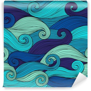 Yıkanabilir Duvar Resmi Soyut dalgalar ile Vektör sorunsuz desen