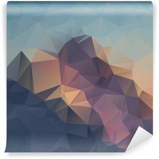 Yıkanabilir Duvar Resmi Soyut geometrik renkli arka plan. Dağ zirveleri. üçgenler geometrik şekillerle kompozisyon. poligon manzara.