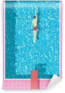 Yıkanabilir Duvar Resmi Yüzme havuzunda yüzücü ile 1980'lerde stil yaz tatili posteri. Pembe grunge yıpranmış fayans ve su doku.