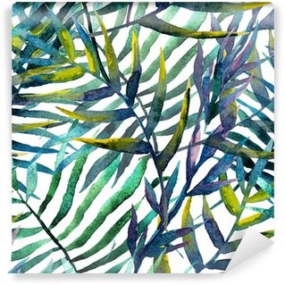 Zelfklevend Fotobehang Abstract patroon met bladeren in waterverf