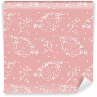 Zelfklevend Fotobehang Dille of venkel bloemen en bladeren patroon.
