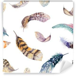 Zelfklevend Fotobehang Feathers herhalend patroon. Aquarel achtergrond met naadloze