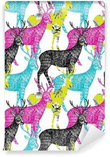 Zelfklevend Fotobehang Herten hand getrokken naadloze achtergrond