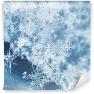 Zelfklevend Fotobehang Ijzige sneeuwvlokken
