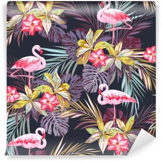 Zelfklevend Fotobehang Tropische zomer naadloze patroon met flamingo vogels en exotische planten