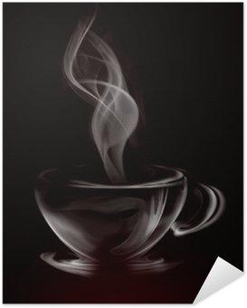 Zelfklevende Poster Artistieke Illustratie Rook Kopje Koffie op zwart