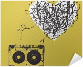 Zelfklevende Poster Audiocassette met verwarde tape. Haert vormige