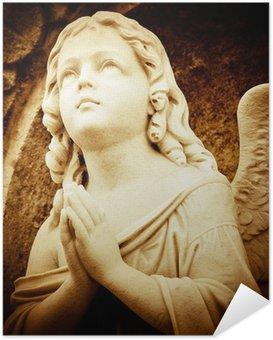 Zelfklevende Poster Bidden engel in sepia tinten