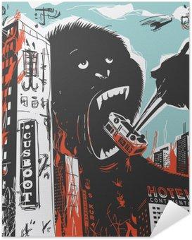 Zelfklevende Poster Big Gorilla vernietigt Stad