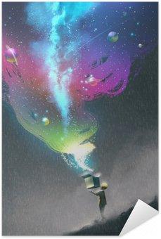 Zelfklevende Poster De jongen opening van een fantasy doos met kleurrijke licht en fantastische ruimte, illustratie painting