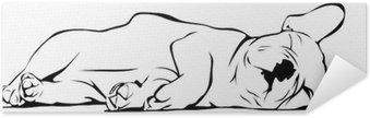 Zelfklevende Poster Franse Bulldog baby Slapen