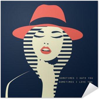 Zelfklevende Poster Gestileerde sexy vrouw met hut