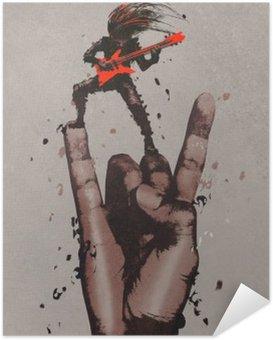 Zelfklevende Poster Grote hand in de rock n roll tekenen met gitarist, illustratie painting