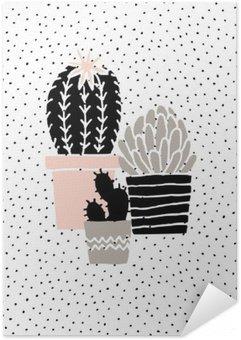 Zelfklevende Poster Hand Getrokken Cactus Poster