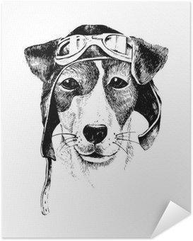Zelfklevende Poster Hand getrokken verkleed hond vliegenier