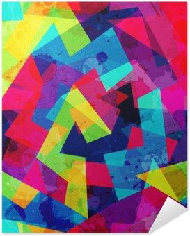 Zelfklevende Poster Heldere geometrische naadloze patroon met grunge effect