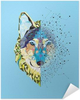 Zelfklevende Poster Hoofd van de wolf in geometrische patroon met ster lijn vector