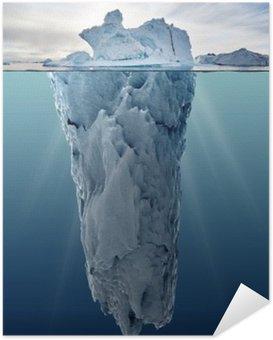 Zelfklevende Poster Ijsberg met onderwater bekijken