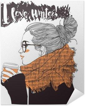 Zelfklevende Poster Jonge mooie vrouw met een kopje koffie