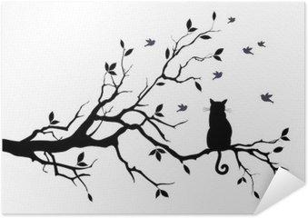 Zelfklevende Poster Kat op een boom met vogels, vector