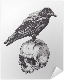 Zelfklevende Poster Kraai op Skull