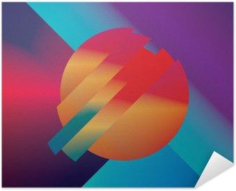 Zelfklevende Poster Materiaal ontwerp abstracte vector achtergrond met geometrische isometrische vormen. Levendig, helder, glanzend kleurrijk symbool voor behang.