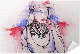 Zelfklevende Poster Meisje in een cap en tatoeages