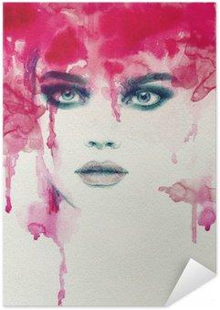 Zelfklevende Poster Mooie vrouw. aquarel illustratie