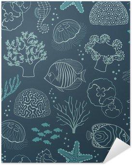 Zelfklevende Poster Onderwaterleven patroon
