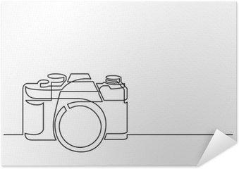 Zelfklevende Poster Ononderbroken lijn tekening van retro fotocamera