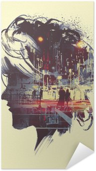 Zelfklevende Poster painting of double exposure concept with lady portrait silhouette and couple walking in night city