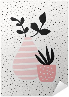 Zelfklevende Poster Roze Vaas en Pot met Installaties