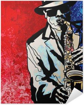 Zelfklevende Poster Saxofonist