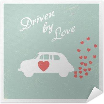 Zelfklevende Poster Uitstekende auto gedreven door de liefde romantische postkaart ontwerp voor Valentijn kaart.