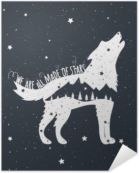 Zelfklevende Poster Vector illustratie met huilende wolf, bergen en bomen